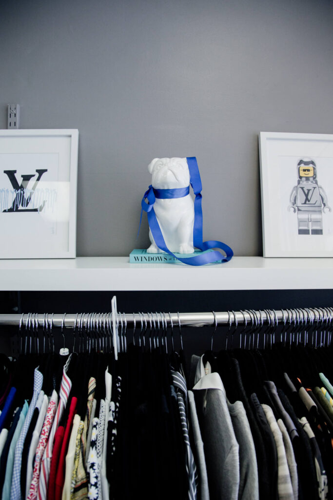 Clothing on a rack.