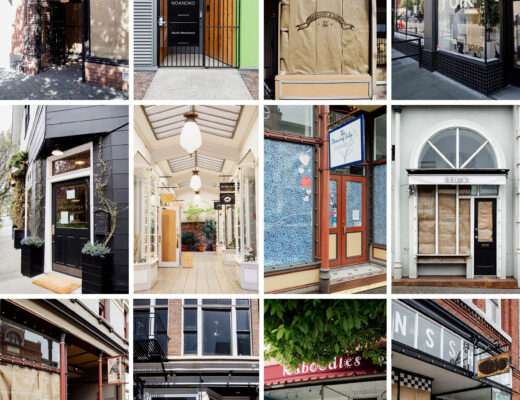 A mosaic of storefronts with paper on the windows during COVID-19 lockdown.