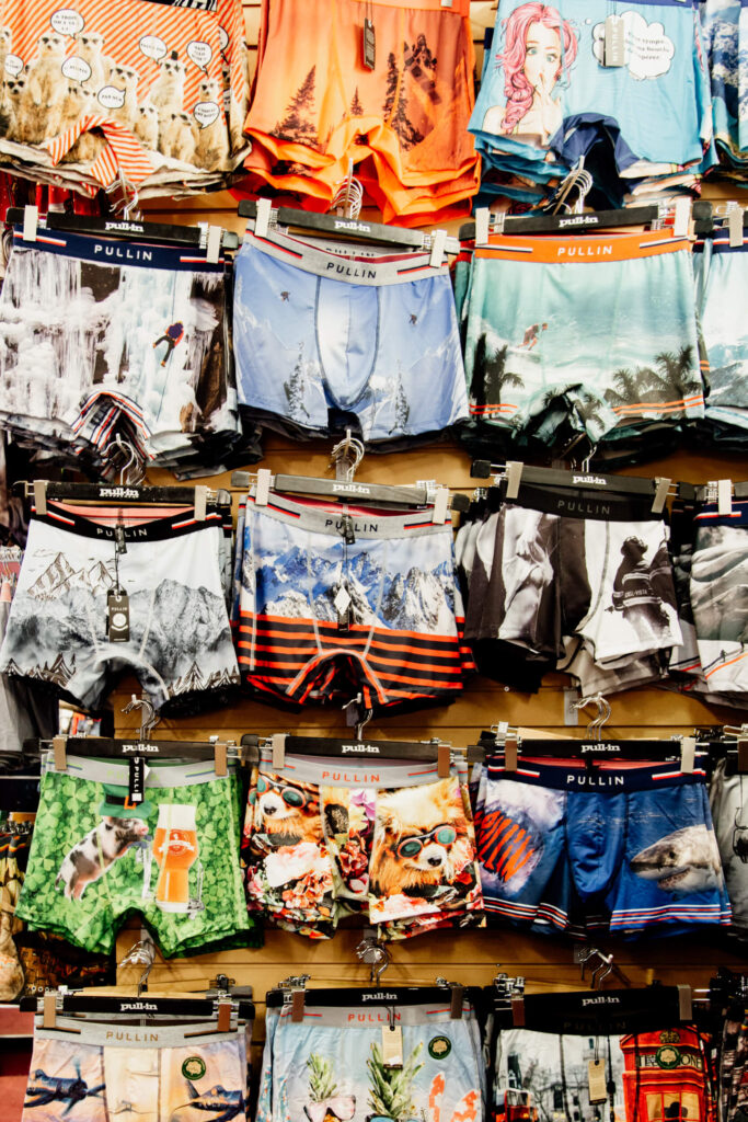 Boxer shorts hung up on a wall in a shop in Victoria, BC.
