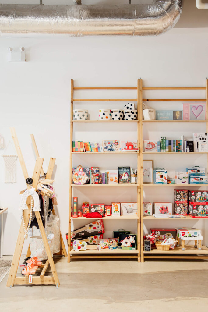 A shop with baby goods on the shelves in Victoria, BC.
