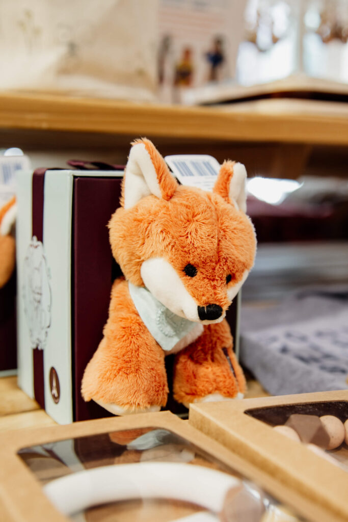 A stuffed fox plush toy in a shop in Victoria, BC.
