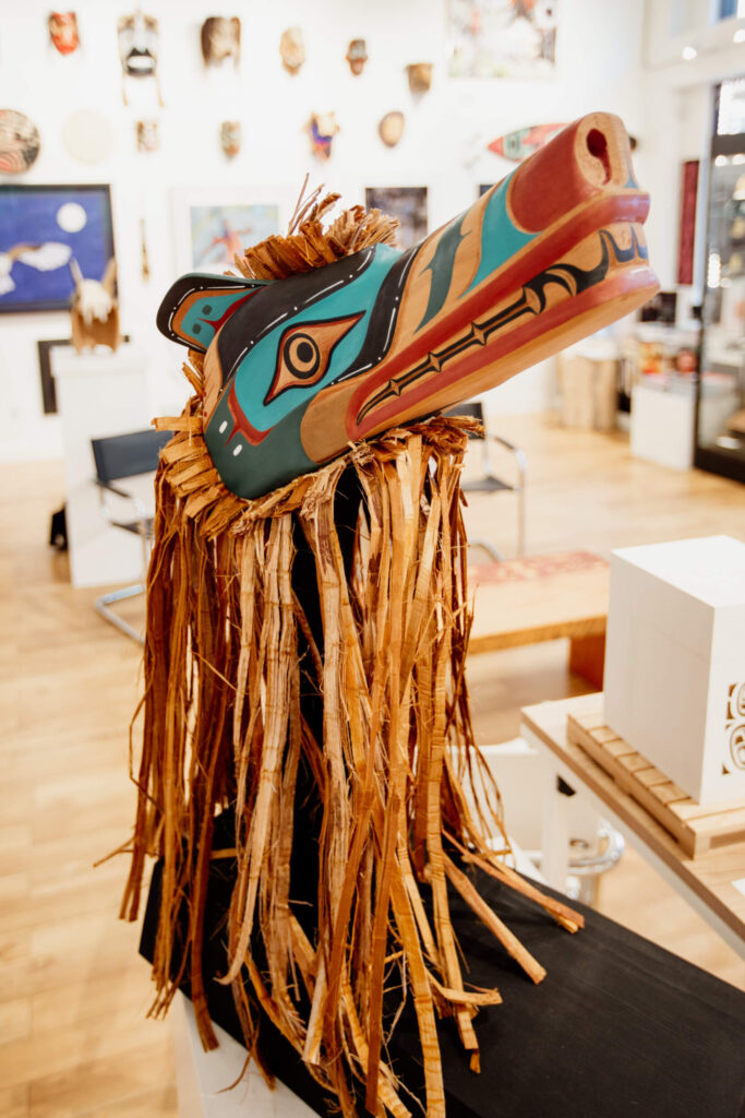 Mask on display in an Indigenous art gallery in Victoria, BC.